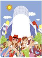 ファッションビル街に集まる人々 20037002197| 写真素材・ストックフォト・画像・イラスト素材|アマナイメージズ