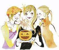 ハロウィンを楽しむ女性3人 20037002218| 写真素材・ストックフォト・画像・イラスト素材|アマナイメージズ