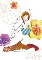 ストレッチ体操をする女性