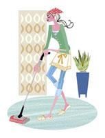 掃除をする女性 20037002235| 写真素材・ストックフォト・画像・イラスト素材|アマナイメージズ