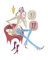 靴を試着する女性 20037002239| 写真素材・ストックフォト・画像・イラスト素材|アマナイメージズ