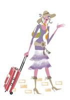 スーツケースを持って出かける女性