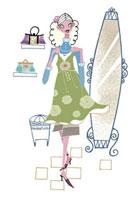 鏡の前で服を選ぶ女性