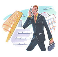 携帯電話で電話するビジネスマン