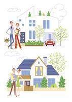 夫婦と家 20037002302| 写真素材・ストックフォト・画像・イラスト素材|アマナイメージズ