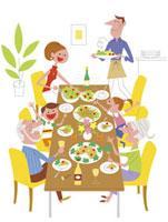 家族で食事 20037002303| 写真素材・ストックフォト・画像・イラスト素材|アマナイメージズ