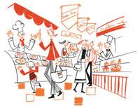 食品売り場でショッピングをする人々