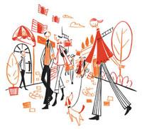 人々で賑わう商店街 20037002334| 写真素材・ストックフォト・画像・イラスト素材|アマナイメージズ