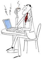 お茶を飲みながらノートパソコンを操作する男性 20037002361| 写真素材・ストックフォト・画像・イラスト素材|アマナイメージズ