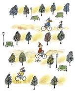 広場で自転車に乗る人々