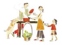 料理をする家族 20037002370| 写真素材・ストックフォト・画像・イラスト素材|アマナイメージズ