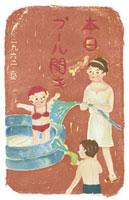 水遊びをする家族