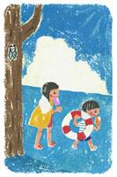 水遊びの帰りにアイスを食べる女の子と男の子
