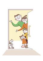 玄関先で出迎える家族