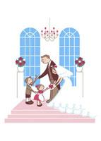 新郎新婦に花を渡す男の子と女の子 20037002428| 写真素材・ストックフォト・画像・イラスト素材|アマナイメージズ