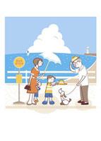 バス停でシニア男性に挨拶する親子
