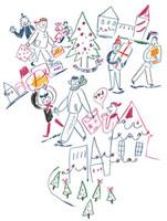 クリスマスショッピングをする人々 20037002486| 写真素材・ストックフォト・画像・イラスト素材|アマナイメージズ