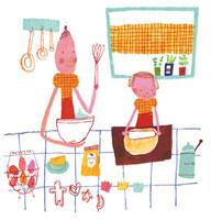 お菓子作りをする母娘 20037002492  写真素材・ストックフォト・画像・イラスト素材 アマナイメージズ