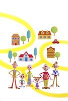家族と街並み