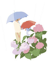 雨傘をさす母娘とあじさい