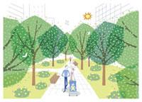公園の中を散歩する親子 20037002674| 写真素材・ストックフォト・画像・イラスト素材|アマナイメージズ
