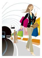 ホームを歩く女性