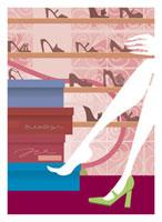 靴を試着する女性 20037002720| 写真素材・ストックフォト・画像・イラスト素材|アマナイメージズ