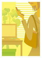 オフィスで携帯電話を持つ女性 20037002721| 写真素材・ストックフォト・画像・イラスト素材|アマナイメージズ