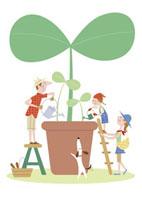 植物を育てる親子 20037002775| 写真素材・ストックフォト・画像・イラスト素材|アマナイメージズ
