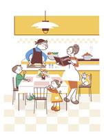 料理する父親と手伝う家族 20037002850| 写真素材・ストックフォト・画像・イラスト素材|アマナイメージズ