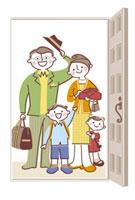 玄関で挨拶をする家族