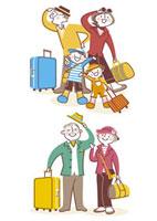 スーツケースを持ち旅行をする家族