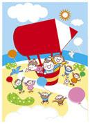 鉛筆形の気球に乗る子供たち