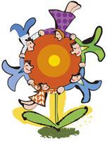 花を囲む人々 20037002875| 写真素材・ストックフォト・画像・イラスト素材|アマナイメージズ