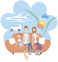 旅行を想像する家族 20037002894| 写真素材・ストックフォト・画像・イラスト素材|アマナイメージズ