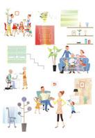 住宅でくつろぐ家族のイメージ 20037002899| 写真素材・ストックフォト・画像・イラスト素材|アマナイメージズ