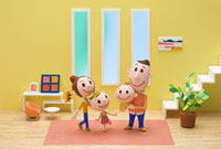 リビングで微笑む家族のポートレート 20037002917| 写真素材・ストックフォト・画像・イラスト素材|アマナイメージズ