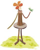 鳥と女性のエコイメージ 20037002940  写真素材・ストックフォト・画像・イラスト素材 アマナイメージズ