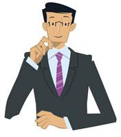 頬杖をつくビジネスマン 20037002989| 写真素材・ストックフォト・画像・イラスト素材|アマナイメージズ