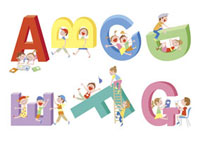アルファベットと子供達の風景