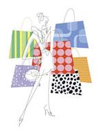 女性とファッションバッグのイメージ