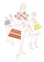 ファッションバッグを片手に持つ3人の女性