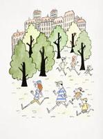 公園でジョギングをする人々