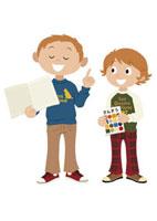 勉強道具を持つ二人の小学生
