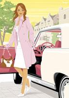 自動車から降りる女性