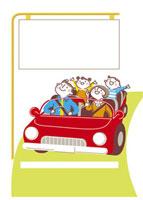 メッセージボードを見つめるドライブ中の家族