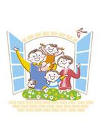 窓から手をふる家族