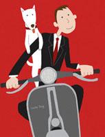 バイクに乗る男性と犬