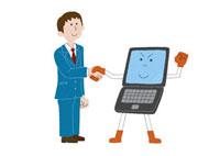 パソコンと握手する男性 20037003248| 写真素材・ストックフォト・画像・イラスト素材|アマナイメージズ
