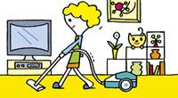 部屋を掃除する女性 20037003337  写真素材・ストックフォト・画像・イラスト素材 アマナイメージズ